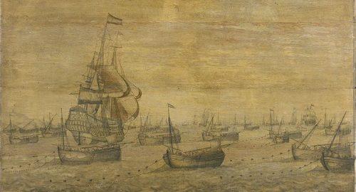 Dutch herring fleet in the North Sea, c1700, protected naval vessl. Pieter Vogelaer - Bryce's article
