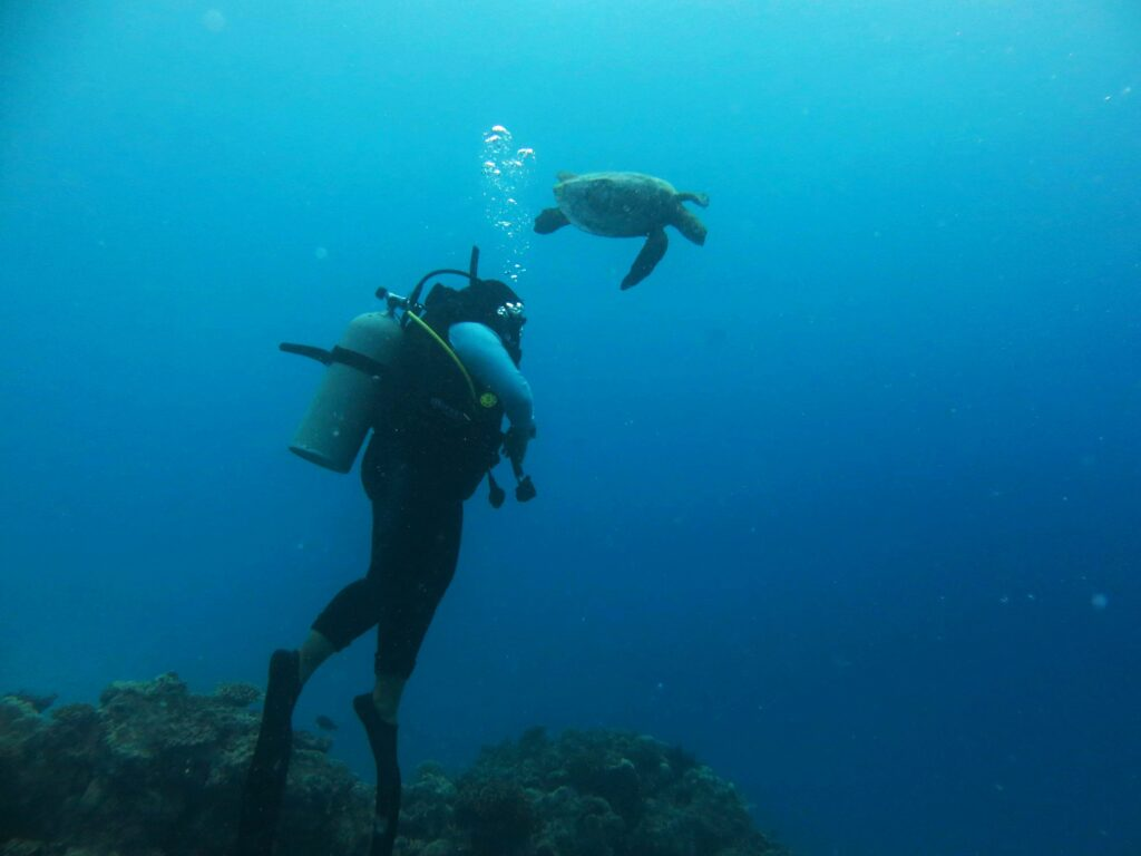 Female scuba diving in Maldives